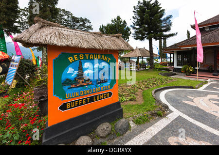 Restaurant in the Pura Ulun Danu Bratan temple, Balinese Hinduism, Banjar Candikuning Dua, Bedugul, Bali, Indonesia - Stock Photo
