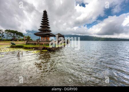 Pura Ulun Danu Bratan temple with a Balinese pagoda, Balinese Hinduism, Lake Bratan, Banjar Candikuning Dua, Bedugul, - Stock Photo