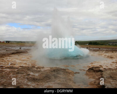 Strokkur, geyser, Golden Circle, Iceland, Europe - Stock Photo