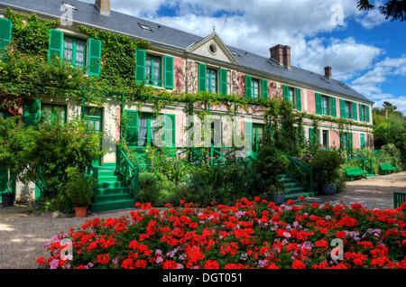 House, Claude Monet Garden, Giverny, Departement Eure, Haute-Normandie, France - Stock Photo