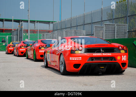 Ferrari cars, Ferrari Challenge at the Misano World Circuit, Italy, Europe - Stock Photo