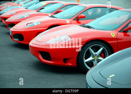 Ferrari cars in a car park, Misano World Circuit, Italy, Europe - Stock Photo