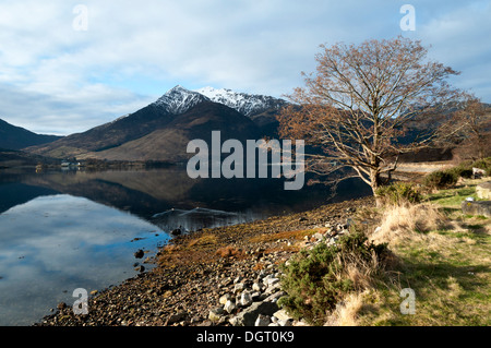 The Beinn a' Bheithir mountain group over Loch Leven, from near North Ballachulish, Highland region, Scotland, UK - Stock Photo