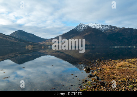 Sgorr a' Choise and the  Beinn a' Bheithir range over Loch Leven, from near North Ballachulish, Highland region, - Stock Photo