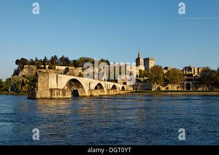 Pont Saint-Bénézet bridge and the Pope's Palace, Avignon, Provence region, France, Europe - Stock Photo