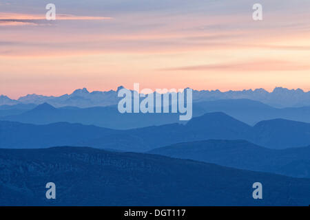 View of the Alps from Mont Ventoux, looking northeast at sunrise, from the Du Mont Serein ski station, Malaucène - Stock Photo