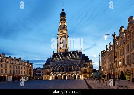 Place des Héros square in Arras, Town Hall, Via Francigena, Pas-de-Calais department, North Pas-de-Calais region, - Stock Photo