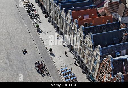 Place des Héros square in Arras, view from the tower of the Town Hall, Via Francigena, Pas-de-Calais department - Stock Photo