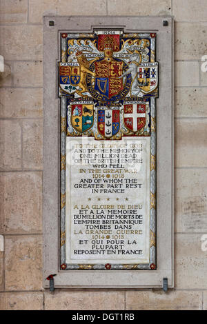 Laon Cathedral, a commemorative plaque for the British Empire's one milliion victims of the First World War, Laon, - Stock Photo