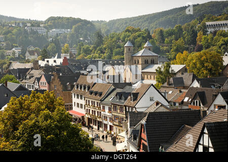 Bad Muenstereifel, the historic district and the Church of St. Chrysanthus and Daria, Way of St. James between Cologne - Stock Photo