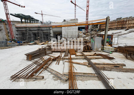 Construction site of the new hydropower plant in Rheinfelden, headwater inlet platform, Rheinfelden - Ost, Rheinfelden - Stock Photo