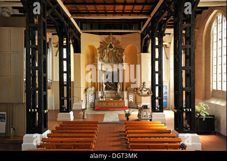 Interior view, St. Mary's Church, remodelled into the Baroque in the 18th Century, originally a brick building from - Stock Photo