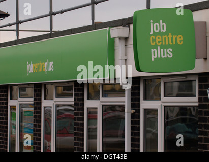 Job Centre Plus sign above office in Bude, Cornwall, UK - Stock Photo