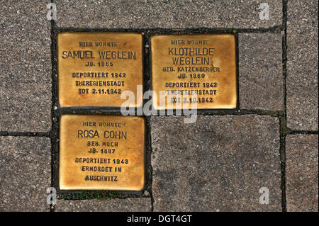 Stumbling blocks, memorial stones for deported and murdered Jews in the Third Reich, 1942-1943, main road in Erlangen - Stock Photo