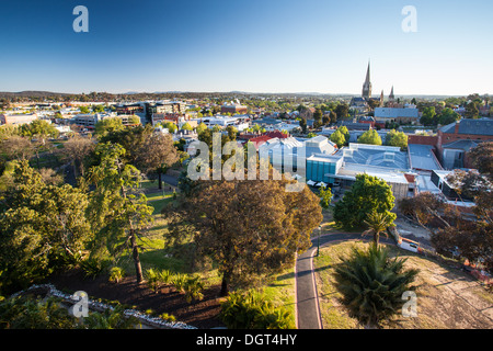 The view from the Lookout Tower in Rosalind Park over Bendigo on a clear Spring evening. - Stock Photo