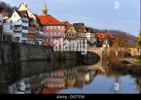 Row of old houses along the bank wall of the Kocher River, Mauerstrasse, Schwaebisch Hall, Baden-Wuerttemberg, PublicGround - Stock Photo