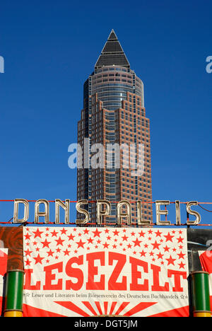 Frankfurt Book Fair, Danspaleis Lesezelt, Reading Tent, in the Exhibition Grounds, in front of the Messeturm tower - Stock Photo