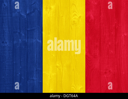 gorgeous Chad flag painted on a wood plank texture - Stock Photo