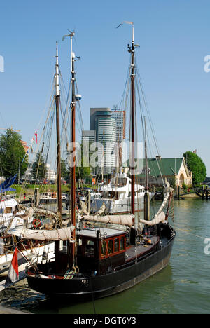 Boats in the Veerhaven, a harbour for traditional, seaworthy sailing ships in the Scheepvaartkwartier quarter, Rotterdam - Stock Photo