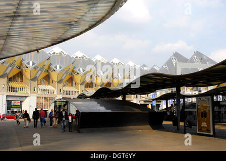 Modern architecture, Cube Houses, Kubuswoningen at the Rotterdam Blaak Railway Station, Zuid-Holland, South-Holland, - Stock Photo