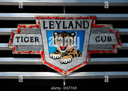 Detail, sign on the radiator grill of an old Leyland bus, bus station, Victoria or Rabat, Island of Gozo, Malta, - Stock Photo