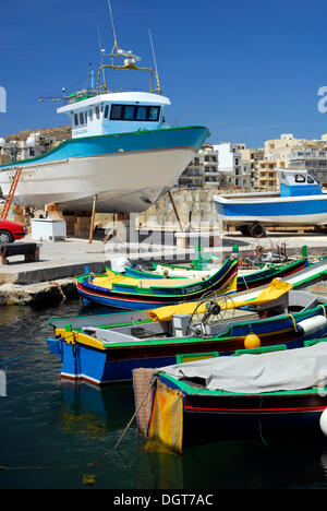 Fishing boats in the harbour, Marsalforn Bay, Marsalforn, Island of Gozo, Malta, Mediterranean, Europe - Stock Photo