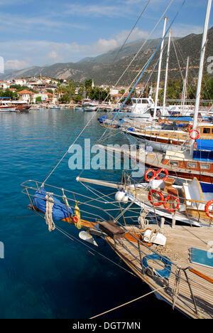 Sailing ships, boats in the port of Kas, Lycian coast, Antalya Province, Mediterranean, Turkey, Eurasia - Stock Photo