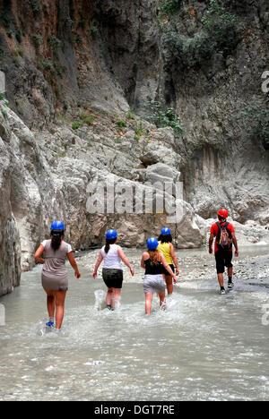 Day trip for tourists, Saklikent Canyon nature park, Esen Cay whitewater gorge, rock canyon in the Ak daglar, Akdagi - Stock Photo