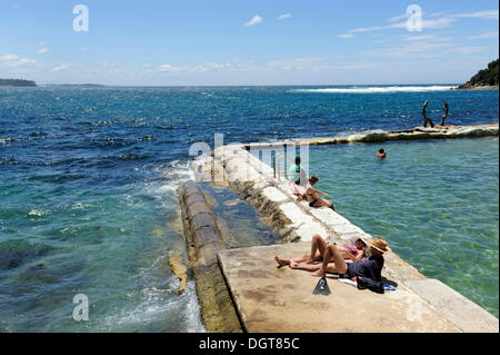Swimming pool in the sea near Manly Beach, North Sydney, New South Wales, NSW, Pacific Ocean, Australia - Stock Photo