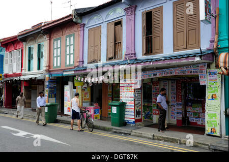 Shops along Serangoon Road in the Indian district, Little India, Central Area, Central Business District, Singapore, - Stock Photo