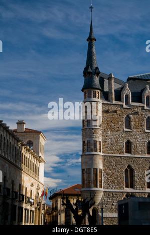 Casa Botines of Gaudi in Leon. Spain - Stock Photo