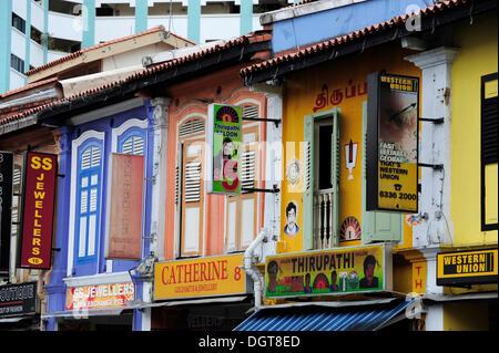 Shops, colourful buildings, Indian quarter, Little India, Singapore, Asia