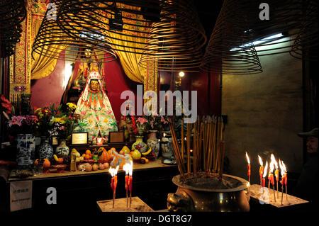 Altar in a Chinese temple in the Sheung Wan quarter, Hong Kong Island, Hong Kong, China, Asia - Stock Photo