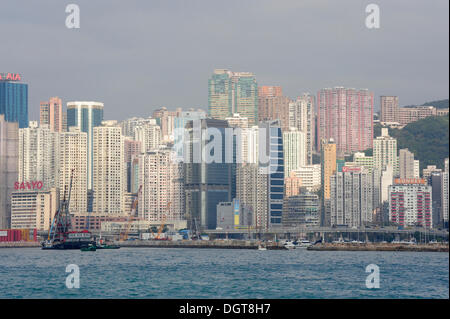 View of Victoria Harbour and skyscrapers in Fortress Hill and Causeway Bay, Eastern District, Hong Kong Island, - Stock Photo