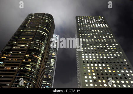 Windows Of Office Buildings Illuminated At Night For