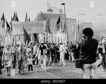 Labour Day demonstration, 1 May, circa 1976, Leipzig, Saxony, GDR, East Germany, Europe - Stock Photo