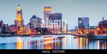 Providence, Rhode Island downtown cityscape viewed from above the Providence River. - Stock Photo