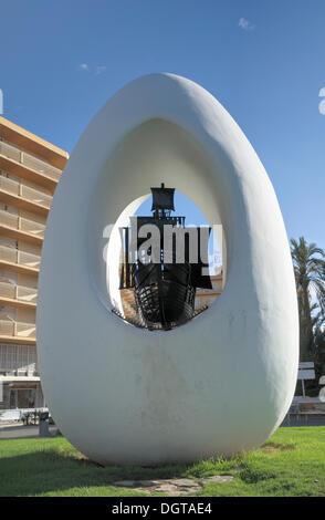 Columbus monument, Sant Antoni de Portmany, Ibiza, Pityuses, Balearic Islands, Spain, Europe - Stock Photo