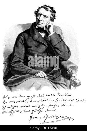 Franz Grillparzer, taken directly from life, 1858, historic illustration from History of German Literature from - Stock Photo