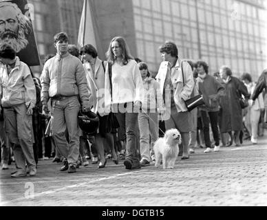 May Day march, Leipzig, about 1976, East Germany, GDR, East Germany - Stock Photo