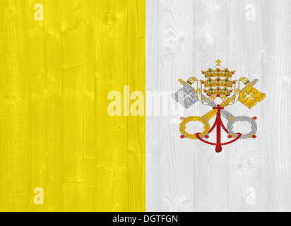 gorgeous Vatican City flag painted on a wood plank texture - Stock Photo