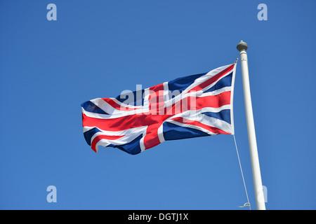 Union Jack flag at Land's End, Penwith Peninsula, Cornwall, England, United Kingdom - Stock Photo