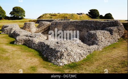 Cathedral ruins at Old Sarum near Salisbury Wiltshire UK a Norman castle and cathedral within an iron age hill fort - Stock Photo