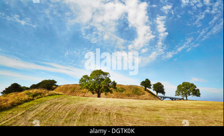 Castle mound at Old Sarum near Salisbury Wiltshire UK a Norman castle and cathedral within an iron age hill fort - Stock Photo