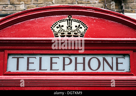 Red Telephone Box, detail - Stock Photo