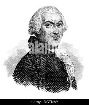 Jean-François Marmontel, 1723 - 1799, a French historian and writer, Encyclopediste - Stock Photo