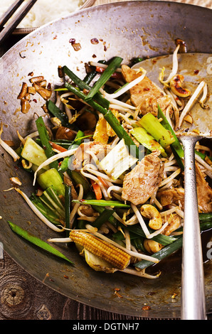 chicken with vegetables stir fried - Stock Photo