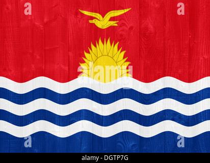 gorgeous Kiribati flag painted on a wood plank texture - Stock Photo