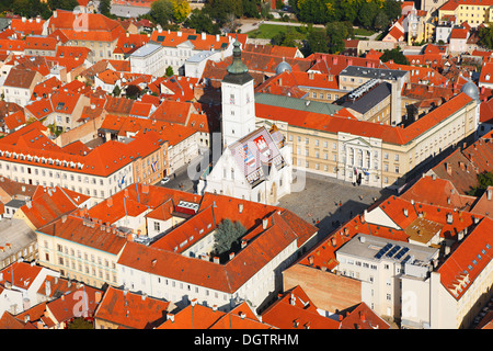 Zagreb aerial, st. Mark square and National Parliament Palace - Stock Photo