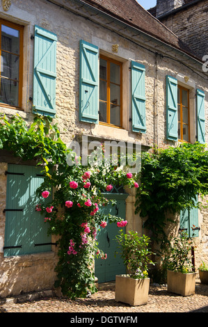 Typical French house with roses and blue shutters - Stock Photo